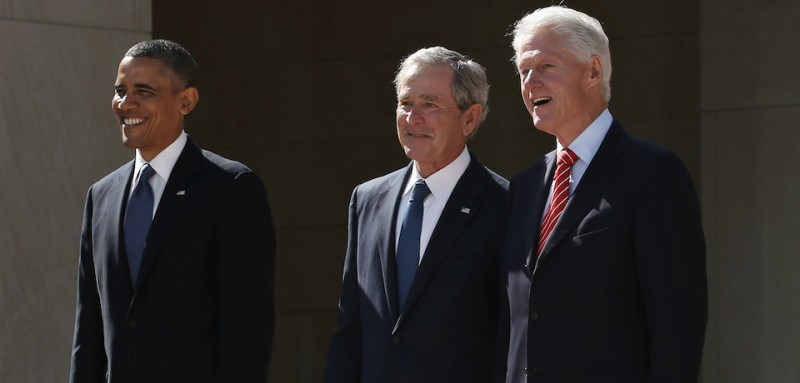 DALLAS, TX - APRIL 25:  (L-R) U.S. President Barack Obama, former President George W. Bush, former President Bill Clinton, former President George H.W. Bush and former President Jimmy Carter attend the opening ceremony of the George W. Bush Presidential Center April 25, 2013 in Dallas, Texas. The Bush library, which is located on the campus of Southern Methodist University, with more than 70 million pages of paper records, 43,000 artifacts, 200 million emails and four million digital photographs, will be opened to the public on May 1, 2013. The library is the 13th presidential library in the National Archives and Records Administration system.  (Photo by Alex Wong/Getty Images)