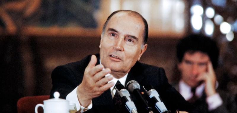 French President Fran?ois Mitterrand gives a press conference, on May 5, 1983 at China's Great Hall of the People, in Beijing during his official visit in China.        (Photo credit should read GABRIEL DUVAL/AFP/Getty Images)