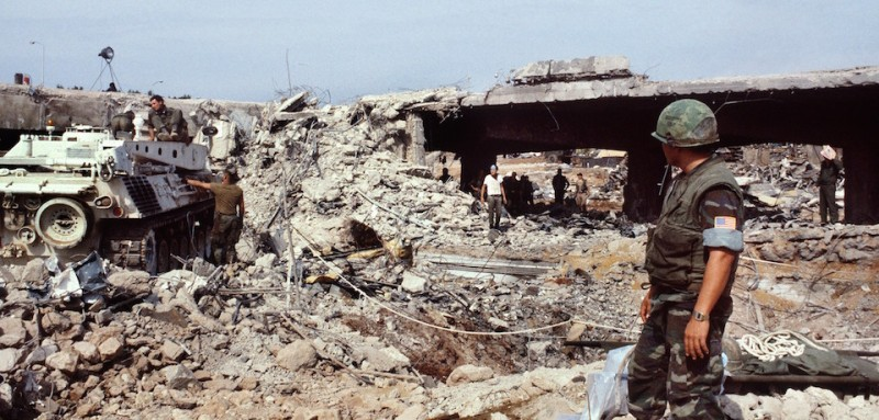 US marines continue to search for victims, on October 31, 1983, after a terrorist attack against the headquarters of the U.S. troops of the multinational force that killed 241 American soldiers on October 23, 1983 in Beirut.        (Photo credit should read PHILIPPE BOUCHON/AFP/Getty Images)