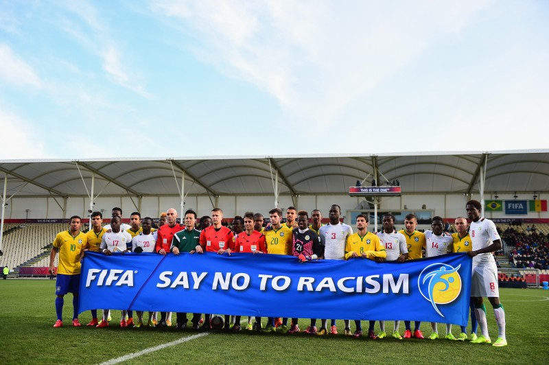 CHRISTCHURCH, NEW ZEALAND - JUNE 17:  Teams and Officials Say No To Racism during the FIFA U-20 World Cup Semi Final match between Brazil and Senegal at Christchurch Stadium on June 17, 2015 in Christchurch, New Zealand.  (Photo by Jamie McDonald - FIFA/FIFA via Getty Images)