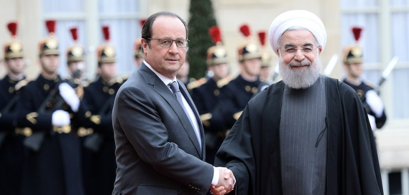 French President François Hollande shakes hands with Iranian President Hassan Rouhani at the Élysée Palace in Paris on Jan. 28, 2016. (Stephane de Sakutin/AFP/Getty Images)