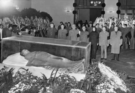 "BEIJING, CHINA: Picture dated 13 September 1976 in Beijing and released by the Chinese official news agency with following caption: ""The Party and state leaders standing vigil before the remains of the great leader and teacher Chairman Mao Zedong are (from left) Hua Guofeng, Wang Hung-wen, Yeh Chien-ying, Chang Chun-chiao, Jiang Qing, Yao Wen-yuan and Li Hsien-hien. (Photo credit should read AFP/Getty Images)"