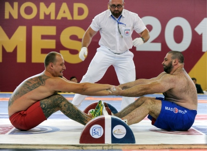 CHOLPON-ATA, KYRGYZSTAN - SEPTEMBER 3, 2016: Contestants compete in mas-wrestling at the 2016 World Nomad Games. Viktor Drachev/TASS (Photo by Viktor DrachevTASS via Getty Images)