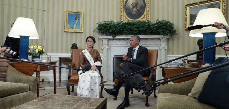 U.S. President Barack Obama, right, and State Counsellor Aung San Suu Kyi of Myanmar at the White House on Sept. 14, 2016. (Alex Wong/Getty Images)