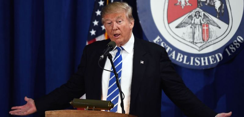 US Republican presidential nominee Donald Trump speaks at the Polish National Alliance in Chicago, Illinois, on September 28, 2016. / AFP / Jewel SAMAD        (Photo credit should read JEWEL SAMAD/AFP/Getty Images)