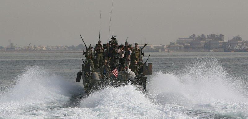A US Navy Riverine Command Boat (RCB) cruises off the coast of Bahrain's Salman port, near the capital Manama, on May 12, 2013, one day before the start of the biggest exercise of mine countermeasure maneuvers in the Arabian Gulf. The US Navy along with other 40 nations are conducting the games. AFP PHOTO/MARWAN NAAMANI        (Photo credit should read MARWAN NAAMANI/AFP/Getty Images)