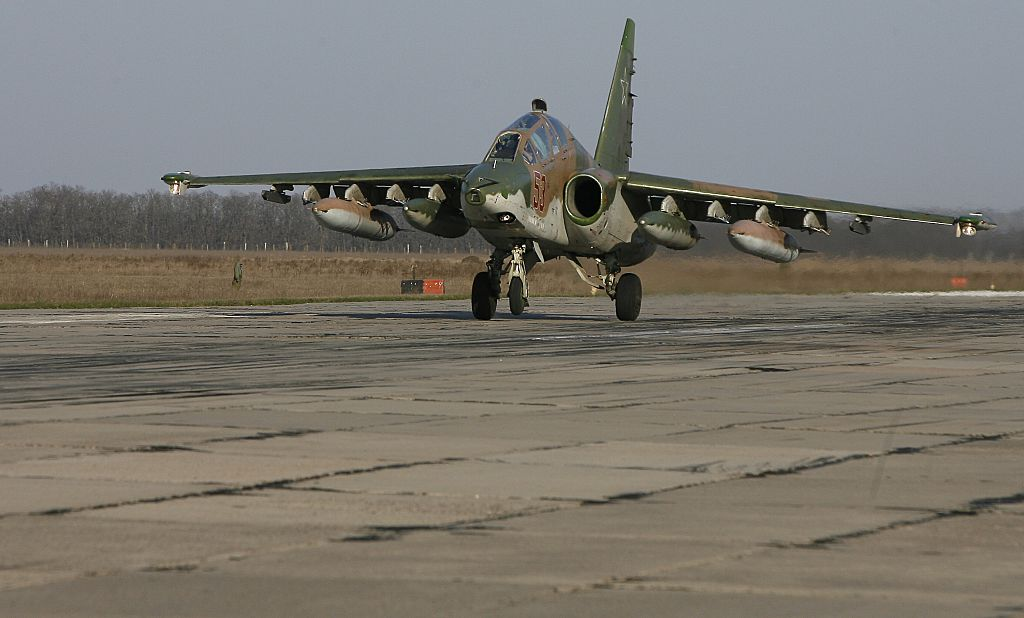 A Russian Su-25 ground attack aircraft lands at an airbase in the southern Russia's Krasnodar region, on March 16, 2016, as part of the withdrawal of Russian armed forces from Syria. Russia's surprise withdrawal continued March 16 as a second group of Russian warplanes flew out of Syria, with SU-25 ground attack aircraft and IL-76 transport planes pulled out of Russia's Hmeimim base in Syria. AFP PHOTO / SERGEI VENYAVSKY / AFP / SERGEI VENYAVSKY (Photo credit should read SERGEI VENYAVSKY/AFP/Getty Images)