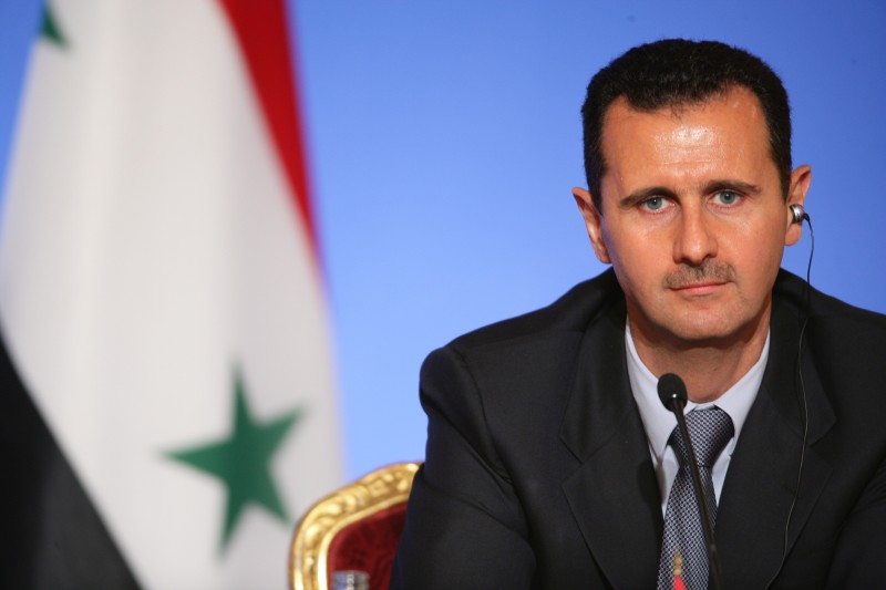 FRANCE - JULY 12:  Lebanese President Michel Sleiman, Qatari Emir Hamad Bin Khalifa Al Thani, French President Nicolas Sarkozy And Syrian President Bashar Al-Assad Attend A Press Conference At The Elysee Palace On The Eve Of Paris, In Paris, France On July 12, 2008 - Lebanese president Michel Sleiman, Qatari Emir Hamad Bin Khalifa Al Thani, French president Nicolas Sarkozy and Syrian President Bashar Al-Assad attend a press conference at the Elysee Palace on July 12, 2008 in Paris, on the eve of the Paris summit of the Mediterranean countries - Leaders from some 40 countries -- rich and poor, foes and friends -- meet in Paris on Sunday to launch the Union for the Mediterranean, a flagship project of Nicolas Sarkozy - Syrian President Bashar Al-Assad.  (Photo by Pool BENAINOUS/HOUNSFIELD/Gamma-Rapho via Getty Images)
