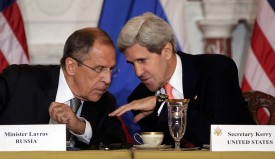 WASHINGTON, DC - AUGUST 09:  Russian Foreign Minister Sergey V. Lavrov (L) talks with U.S. Secretary of State John Kerry during a meeting at the U.S. State Department on August 9, 2013 in Washington, DC. According to reports the meeting could help determine the fate of a planned summit meeting in September between U.S. President Barack Obama and Russian President Vladimir V. Putin.  (Photo by Win McNamee/Getty Images)