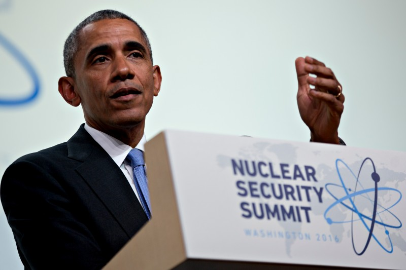 WASHINGTON, DC - APRIL 1: (AFP OUT) President Barack Obama arrives to speak during a closing session at the Nuclear Security Summit April 1, 2016 in Washington, D.C. After a spate of terrorist attacks from Europe to Africa, Obama is rallying international support during the summit for an effort to keep Islamic State and similar groups from obtaining nuclear material and other weapons of mass destruction. (Photo By Andrew Harrer/Pool/Getty Images)