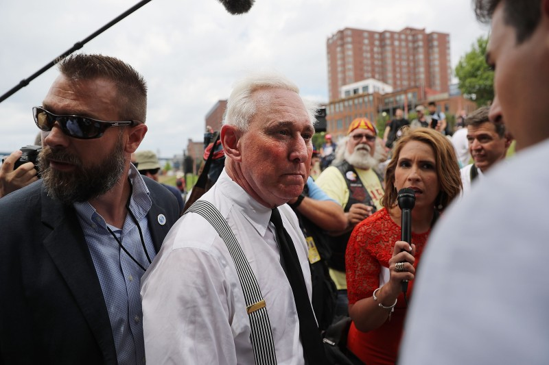 CLEVELAND, OH - JULY 18:  Political operative Roger Stone attends rally on the first day of the Republican National Convention (RNC) on July 18, 2016 in Cleveland, Ohio. An estimated 50,000 people are expected in downtown Cleveland, including hundreds of protesters and members of the media. The convention runs through July 21.  (Photo by Spencer Platt/Getty Images)