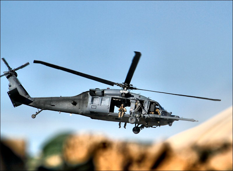Special operations Blackhawk takes off fast in Afghanistan.