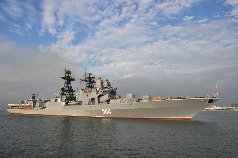 This picture taken on September 12, 2016 shows the Russian destroyer Admiral Tributs arriving at Zhanjiang port in Chinas southern Guangdong province.  Russian navy ships arrived for eight-day joint military exercises with the Chinese navy  in the South China Sea, in a show of force after an international tribunal invalidated the Asian giant's extensive claims in the region. / AFP / STR / China OUT        (Photo credit should read STR/AFP/Getty Images)