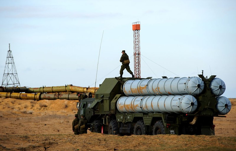 ASTRAKHAN REGION, RUSSIA. MARCH 30, 2016. An S-300PM air defence missile system during a joint military drill by Air Force and Air Defence Force units of Russia's Central Military District, at Ashuluk. Donat Sorokin/TASS (Photo by Donat SorokinTASS via Getty Images)