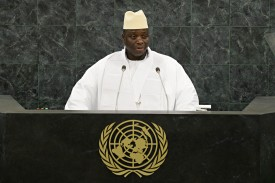 NEW YORK, NY - SEPTEMBER 27: Gambian President Yahya Jammeh speaks at the 68th session of the United Nations General Assembly on September 24, 2013 in New York City. Over 120 prime ministers, presidents and monarchs are gathering this week at the U.N. for the annual meeting. (Photo by Andrew Burton/Getty Images)