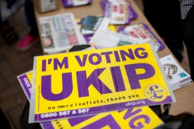 CROYDON, ENGLAND - MAY 20: A UKIP party poster outside Whitgift Shopping Centre in Croydon on May 20, 2014 in Croydon, England. Mr Farage was due to attend the UKIP mini carnival in Croydon High Street but pulled out at the last minute. Designed to show diversity within his party organisers said his no show was due to fears for his safety. (Photo by Dan Dennison/Getty Images)
