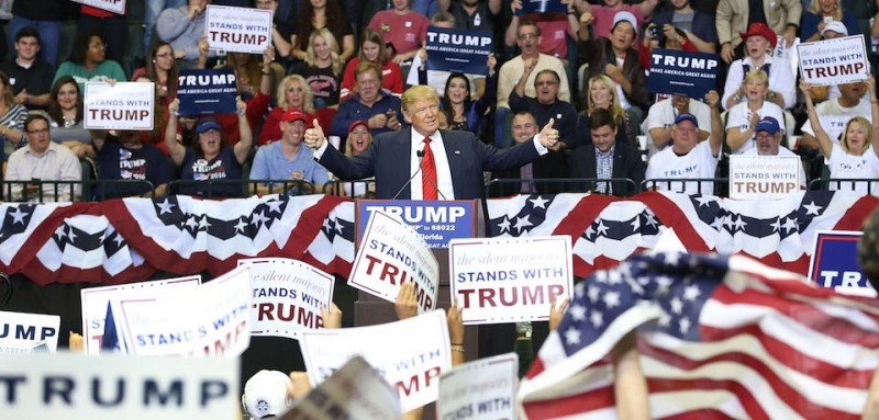 TAMPA, FL - FEBRUARY 12: Republican presidential candidate Donald Trump speaks during a campaign rally at the University of South Florida Sun Dome on February 12, 2016 in Tampa, Florida. The process to select the next Democratic and Republican Presidential candidate continues. (Photo by Joe Raedle/Getty Images)