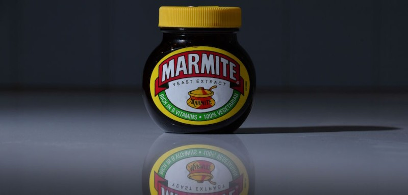 A jar of Marmite, produced by Unilever, is arranged for a photogaph in Brenchley, south east England, on October 13, 2016. British staple Marmite was taken off the virtual shelves at British supermarket Tesco on Thursday, following a reported row with supplier Unilever over pricing after the pound plummeted on fears over the UK's Brexit plans. Other Unilever products including PG Tips tea and Ben & Jerry's ice cream were also unavailable on Tesco's online store, but it was the sudden absence of Marmite which prompted national furore. / AFP / BEN STANSALL        (Photo credit should read BEN STANSALL/AFP/Getty Images)