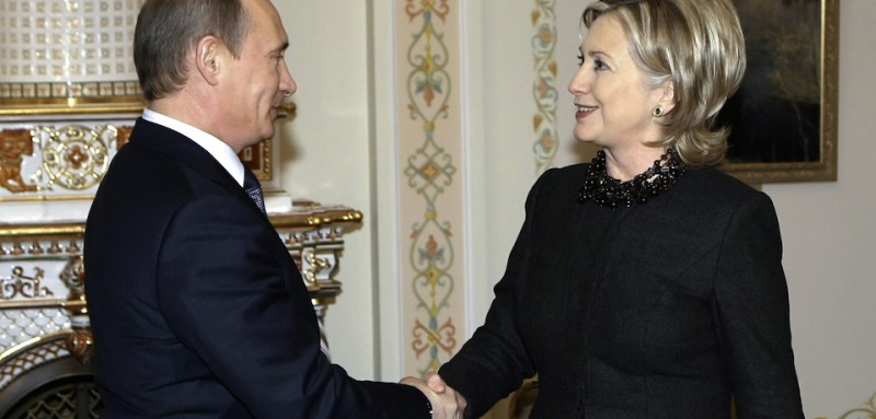 US Secretary of State Hillary Clinton (R) shakes hands with Russian Prime Minister Vladimir Putin (L) outside Moscow in Novo-Ogarevo on March 19, 2010. Russian Prime Minister Vladimir Putin met US Secretary of State Hillary Clinton and used the occasion to bemoan Moscow's stalled WTO application and the state of bilateral trade. Russia, the world's largest economy outside the global trade body, has repeatedly accused Washington of hindering its efforts to join the World Trade Organization in talks that have dragged on since 1993. AFP PHOTO / RIA NOVOSTI / POOL / ALEXEY NIKOLSKY (Photo credit should read ALEXEY NIKOLSKY/AFP/Getty Images)