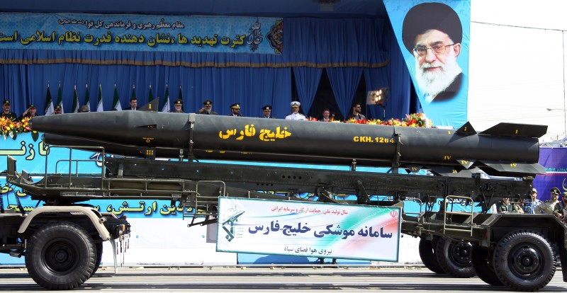 "A military truck carries the long-range ""Khalij Fars (Persian Gulf)"", a supersonic, anti-ship ballistic missile during an annual military parade which marks Iran's eight-year war with Iraq, in the capital Tehran, on September 21, 2012.  Iran proudly paraded its military hardware in Tehran under the gaze of President Mahmoud Ahmadinejad, who used the event to again defiantly lash out at the West and Israel.   AFP PHOTO/ATTA KENARE        (Photo credit should read ATTA KENARE/AFP/GettyImages)"