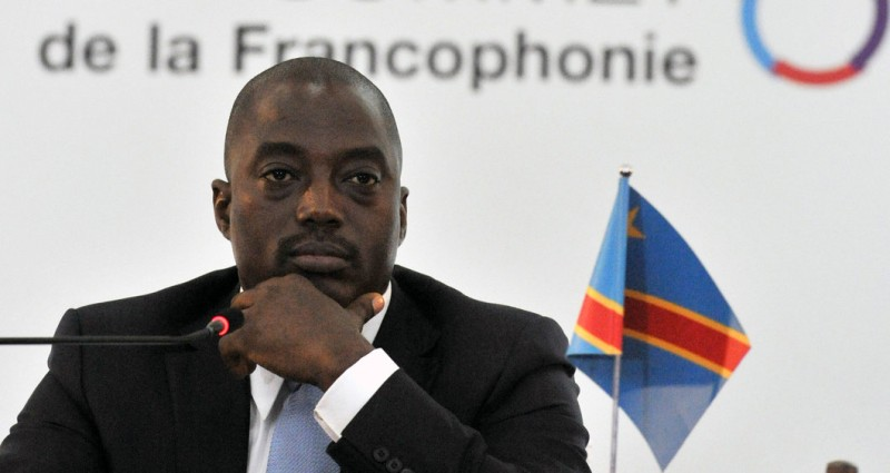 DR Congo president Joseph Kabila attends a joint press conference during the closing session of the French-speaking nations 'Francophonie' summit in Kinshasa on October 14, 2012. 2012. PHOTO/ ISSOUF SANOGO        (Photo credit should read ISSOUF SANOGO/AFP/GettyImages)