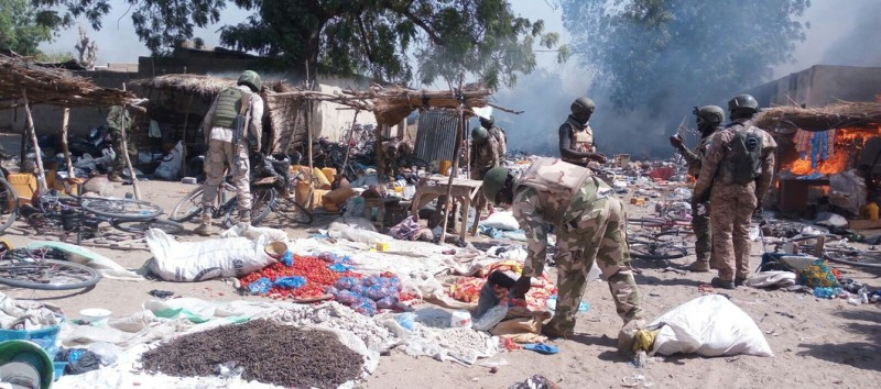 LAGOS, Feb. 18-- Photo taken on Feb. 16, 2016 show the camp of Boko Haram terrorists in Gulumba area of northeast Borno State, Nigeria.  Nigerian troops discovered and destroyed Boko Haram terrorists camp on Thursday, Feb. 16, 2016, The troops also rescued 195 persons held as hostages and quite a number of Boko Haram terrorists were killed.  (Xinhua/Pool/Olawale Salau via Getty Images)
