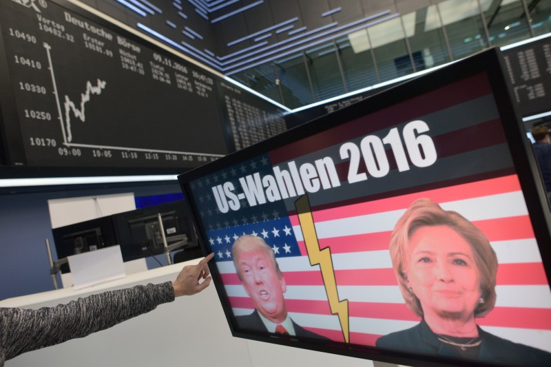 FRANKFURT AM MAIN, GERMANY - NOVEMBER 09: The  candidates Donald Trump and Hillary Clinton of U.S. presidential elections are seen on a TV screen below the graph showing the day's course of the DAX index at the Frankfurt Stock Exchange on November 9, 2016 in Frankfurt, Germany. Stock markets around the world reacted with volatility to the surprise win for Republican candidate Donald Trump in yesterday's U.S. presidential elections.  (Photo by Thomas Lohnes/Getty Images)