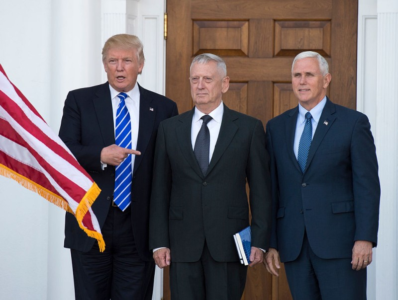 US President-elect Doanld Trump poses for a photo with US Marines General (Ret.) James Mattis James Mattis and Vice President-elect Mike Pence on the steps of the clubhouse at Trump National Golf Club November 19, 2016 in Bedminster, New Jersey. / AFP / Don EMMERT        (Photo credit should read DON EMMERT/AFP/Getty Images)