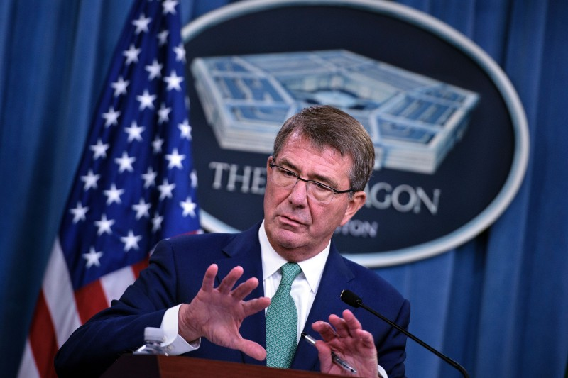 US Secretary of Defense Ashton Carter speaks during a press conference with India's Minister of Defence Manohar Parrikar at the Pentagon on August 29, 2016 in Washington, DC. / AFP / Brendan Smialowski        (Photo credit should read BRENDAN SMIALOWSKI/AFP/Getty Images)
