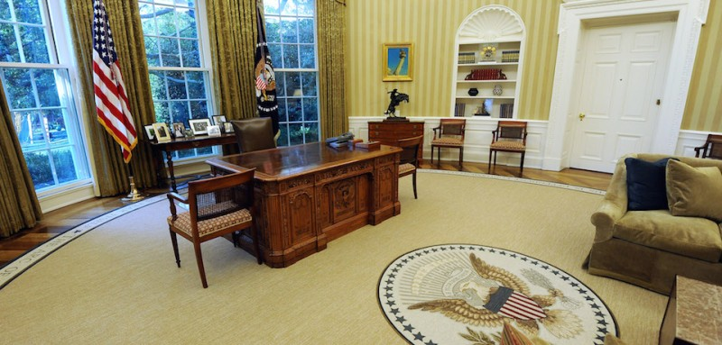 The newly redecorated Oval Office of the White House with new carpet, couches and wallpaper, is pictured on August 31, 2010 in Washington, DC. The work was done while the First Family was vacationing in Martha's Vineyard. AFP PHOTO/Jewel Samad (Photo credit should read JEWEL SAMAD/AFP/Getty Images)