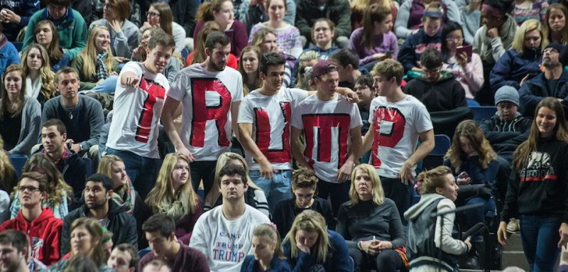 TOPSHOT - Supporters of US Republican presidential candidate Donald Trump attend a rally at Liberty University in Lynchburg, Virginia, January 18, 2016.  / AFP / NICHOLAS KAMM        (Photo credit should read NICHOLAS KAMM/AFP/Getty Images)