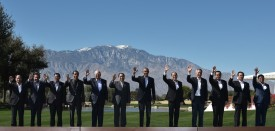 TOPSHOT - US President Barack Obama and leaders take part in a group photo during a meeting of the Association of Southeast Asian Nations (ASEAN) at the Sunnylands estate on February 16, 2016 in Rancho Mirage, California. From left: ASEAN Secretary General  Le Luong Minh, Brunei's Sultan Hassanal Bolkiah, Cambodia's Prime Minister Hun Sen, Indonesia's President Joko Widodo, Malaysia's Prime Minister Najib Razak, Laos' President Choummaly Sayasone, Obama, Philippine's President Benigno Aquino, Singapore's Prime Minister Lee Hsien Loong, Thailand's Prime Minister Prayut Chan-O-Cha, Vietnam's Prime Minister Nguyen Tan Dung, and Myanmar's Vice President Nyan Tun. / AFP / MANDEL NGAN        (Photo credit should read MANDEL NGAN/AFP/Getty Images)