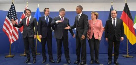 (L to R) Italy's Prime Minister Matteo Renzi, Britain's Prime Minister David Cameron, Ukraine's President Petro Poroshenko, US President Barack Obama, Germany's Chancellor Angela Merkel and France's President Francois Hollande pose for a photo after a quint meeting during the NATO Summit at the Polish National Stadium in Warsaw on July 9, 2016. The Polish capital hosts a two-day NATO summit, the first time ever that it hosts a top-level meeting of the Western military alliance which it joined in 1999. / AFP / MANDEL NGAN        (Photo credit should read MANDEL NGAN/AFP/Getty Images)