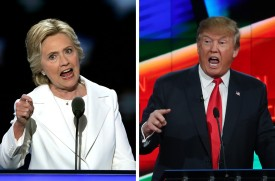 (FILE PHOTO) In this composite image a comparison has been made between US Presidential Candidates Hillary Clinton (L) and Donald Trump. The November 8, 2016 election will decide between Democratic candidate Hillary Clinton and Republican candidate Donald TrumpRomney who will win to become the next President of the United States ***LEFT IMAGE***   PHILADELPHIA, PA - JULY 28:  Democratic presidential candidate Hillary Clinton delivers remarks during the fourth day of the Democratic National Convention at the Wells Fargo Center, July 28, 2016 in Philadelphia, Pennsylvania. Democratic presidential candidate Hillary Clinton received the number of votes needed to secure the party's nomination. An estimated 50,000 people are expected in Philadelphia, including hundreds of protesters and members of the media. The four-day Democratic National Convention kicked off July 25.  (Photo by Alex Wong/Getty Images)  ***RIGHT IMAGE***  LAS VEGAS, NV - DECEMBER 15:  Republican presidential candidate Donald Trump during the CNN Republican presidential debate on December 15, 2015 in Las Vegas, Nevada. This is the last GOP debate of the year, with U.S. Sen. Ted Cruz (R-TX) gaining in the polls in Iowa and other early voting states and Donald Trump rising in national polls.  (Photo by Justin Sullivan/Getty Images)