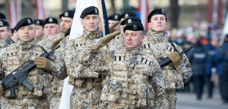 Latvian soldiers march during a military parade on November 18, 2008 to celebrate Latvia's 90th anniversary of independence from Russia, an era of freedom that was snuffed out by the Soviet Union after World War II and only restored in 1991. Nationalism rose in Latvia towards the end of the 19th century, culminating in a declaration of independence on November 18, 1918, after World War I and two revolutions in Russia had brought down the Tsarist empire. Latvia joined the European Union and NATO in 2004.  AFP PHOTO/ILMARS ZNOTINS (Photo credit should read ILMARS ZNOTINS/AFP/Getty Images)