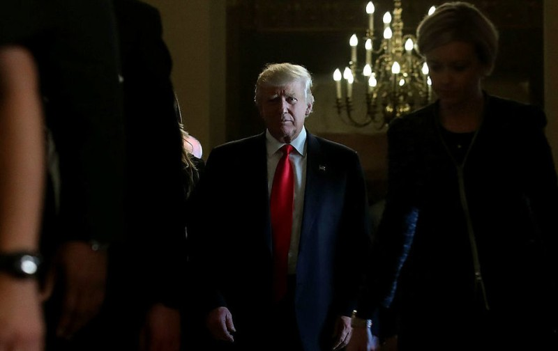 WASHINGTON, DC - NOVEMBER 10:  US President elect Donald Trump, walks away from a meeting with Senate Majority Leader Mitch McConnell, at the US Capitol, November 10, 2016 in Washington, DC. Earlier in the day president elect Trump met with President Barack Obama at the White House.  (Photo by Mark Wilson/Getty Images)