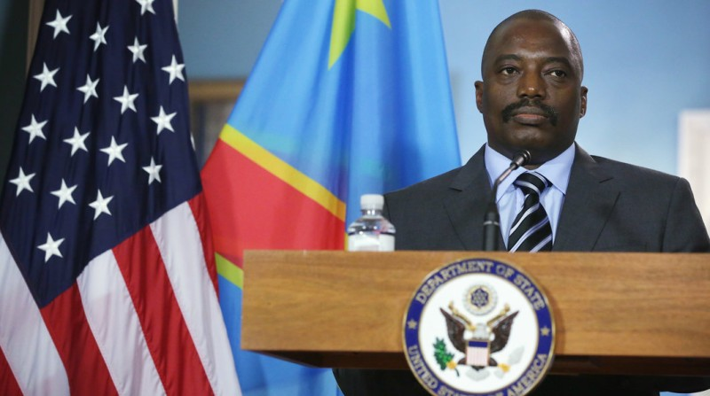 WASHINGTON, DC - AUGUST 04:  President of the Democratic Republic of Congo Joseph Kabila listens to remarks before a bilateral meeting with U.S. Secretary of State John Kerry during the U.S.-Africa Leaders Summit at the Department of State August 4, 2014 in Washington, DC. President Barack Obama will promote business relationships between the United States and African countries while hosting the first-ever leaders summit, where 49 heads of state will be meeting in Washington over the next three days.  (Photo by Alex Wong/Getty Images)