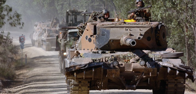 A German designed Leopard AS1 Gun Tank from the 1st Armored Regiment (1ARMD) participates in a simulated battle during the Talisman Saber 2005 exercise at the Shoalwater Bay Training Area, Queensland, Australia (AUS).