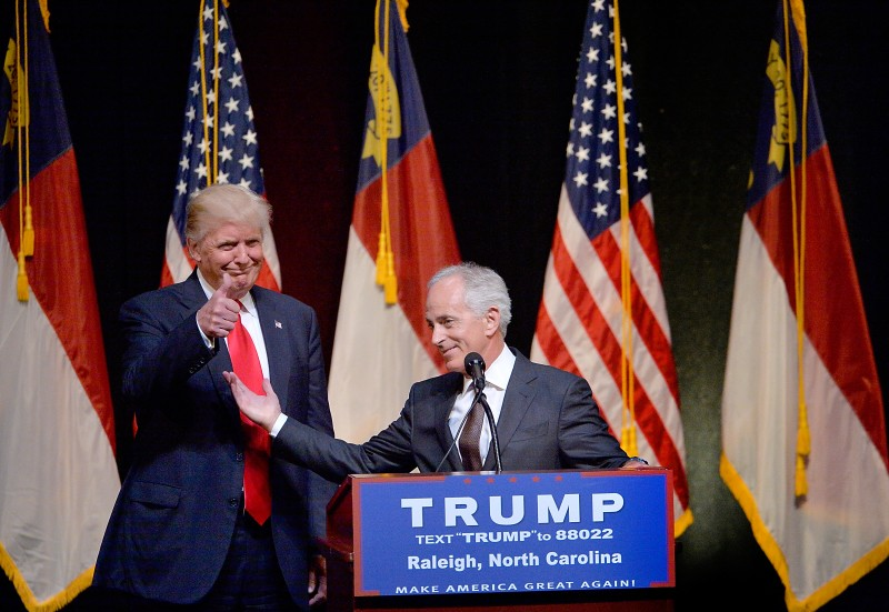 RALEIGH, NC - JULY 5:  Presumptive Republican presidential nominee Donald Trump stands next to Sen. Bob Corker (R-TN) during a campaign event at the Duke Energy Center for the Performing Arts  on July 5, 2016 in Raleigh, North Carolina. Earlier in the day Hillary Clinton campaigned in Charlotte, North Carolina with President Barack Obama. (Photo by Sara D. Davis/Getty Images)