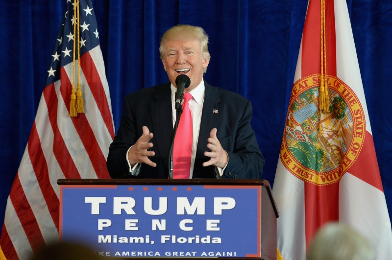 DORAL, FL - JULY 27:  Republican presidential candidate Donald Trump holds a press conference at Trump National Doral on July 27, 2016 in Doral, Florida. Trump spoke about the Democratic Convention and called on Russia to find Hillary Clinton's deleted e-mails.  (Photo by Gustavo Caballero/Getty Images)