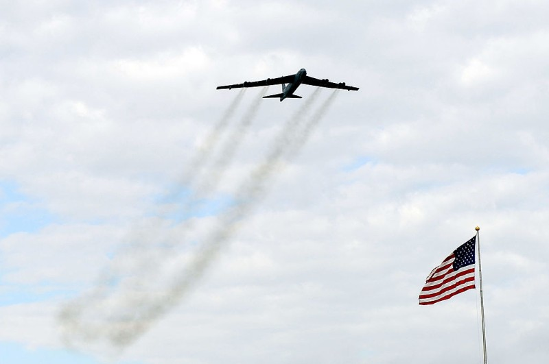 FORT WORTH, TX - NOVEMBER 06:  A B-52 bomber flys over the track during pre-race activities prior to the start of the NASCAR Sprint Cup Series AAA Texas 500 at Texas Motor Speedway on November 6, 2011 in Fort Worth, Texas.  (Photo by John Harrelson/Getty Images for NASCAR)
