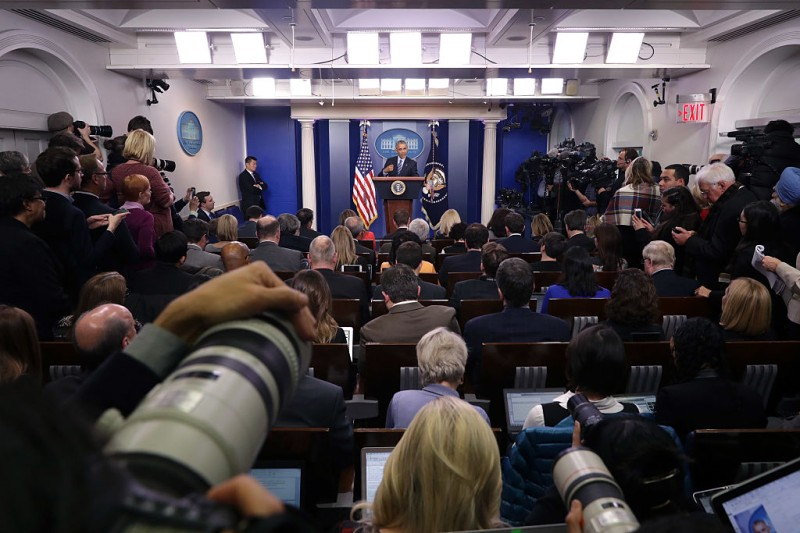WASHINGTON, DC - DECEMBER 16:  U.S. President Barack Obama answers questions during a news conference in the Brady Press Breifing Room at the White House December 16, 2016 in Washington, DC. In what could be the last press conference of his presidency, afterwards Obama will be leaving for his annual family vacation in Hawaii.  (Photo by Chip Somodevilla/Getty Images)