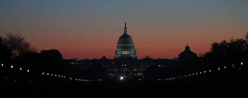 WASHINGTON, DC - NOVEMBER 17:  The early morning sun begins to rise behind the U.S. Capitol on November 17, 2016 in Washington, DC. Later today, Vice President-elect Mike Pence is scheduled to meet with Congressional lawmakers on Capitol Hill.  (Photo by Mark Wilson/Getty Images)