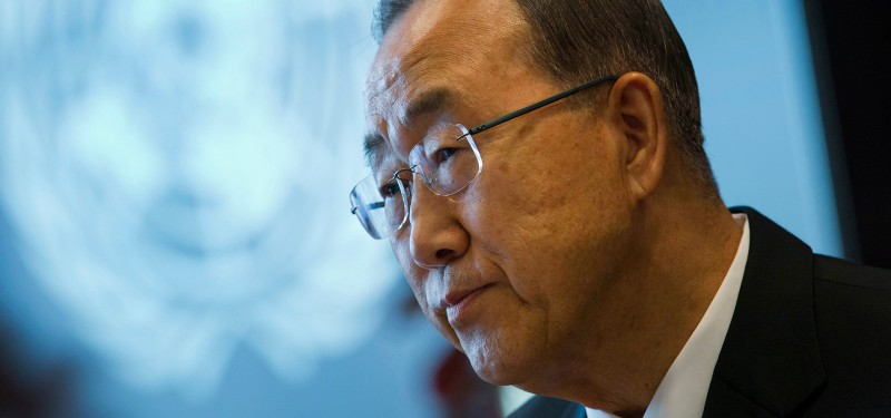 "Ban Ki-moon, secretary-general of the United Nations (UN), listens during an interview in New York, U.S., on Thursday, Sept. 18, 2014. ""There will be a way for Iran to play a constructive role"" in global fight against terrorism and the threat posed by the Islamic State, said Ban."