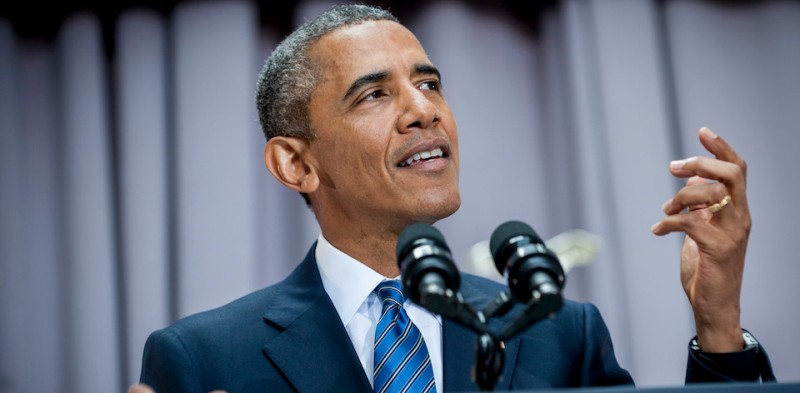 President Barack Obama addresses American University's School of International Service in Washington, District of Columbia, U.S., on Wednesday, Aug. 5, 2015. The speech focused on the Iran nuclear deal being debated in Congress. American University was chosen as the venue by the White House because it is where President Kennedy made his famous 1963 speech on nuclear disarmament. President Obama's Iran Deal speech at AU falls on the 52nd anniversary of the signing of the Limited Nuclear Test Ban Treaty. Photographer: Pete Marovich/Bloomberg/Pool