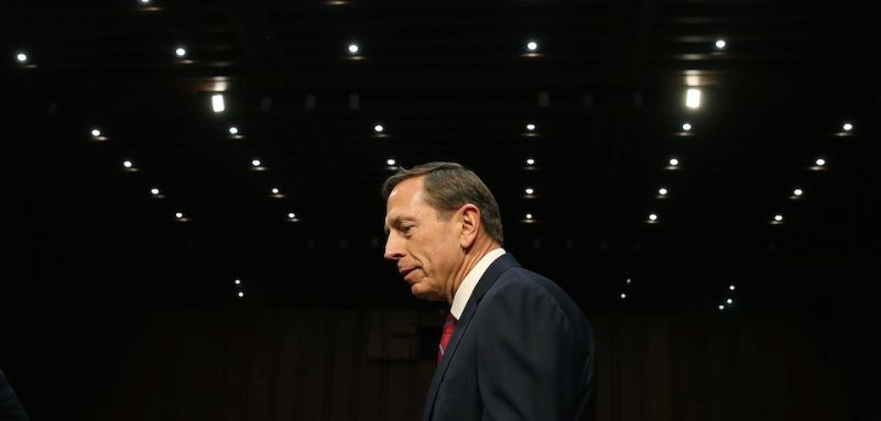 WASHINGTON, DC - SEPTEMBER 22:  Retired US Army Gen. David Petraeus arrives at a Senate Armed Services Committee hearing on Capitol Hill September 22, 2015 in Washington, DC. The hearing focused on United States Middle East Policy.  (Photo by Mark Wilson/Getty Images)