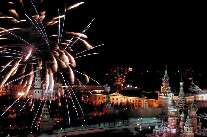 Fireworks bursting over New Year's Eve night-lit Red Square w. Russian flag flying over Kremlin as USSR gives way to new Russian-led commonwealth.  (Photo by Sergei Guneyev/The LIFE Images Collection/Getty Images)