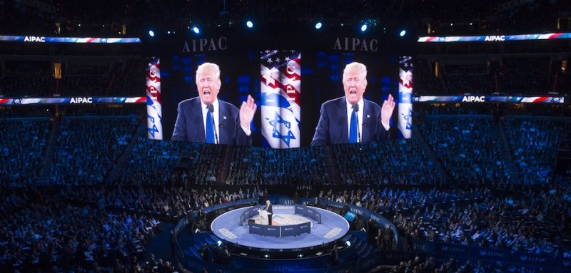 US Republican presidential hopeful Donald Trump addresses the American Israel Public Affairs Committee (AIPAC) 2016 Policy Conference at the Verizon Center in Washington, DC, March 21, 2016. / AFP / SAUL LOEB        (Photo credit should read SAUL LOEB/AFP/Getty Images)