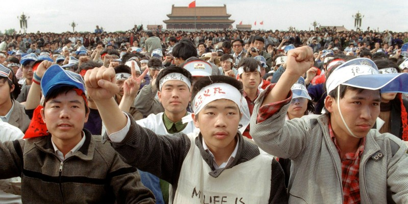 Students from Beijing University during a massive demonstration at Tiananmen Square on May 18, 1989, before they began a hunger strike as part of the pro-democracy protests against the Chinese government.