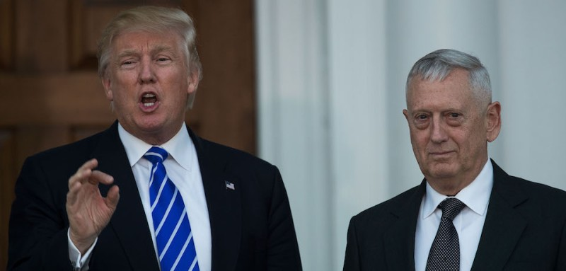 BEDMINSTER TOWNSHIP, NJ - NOVEMBER 19:  (L to R) President-elect Donald Trump speaks as he stands with retired United States Marine Corps general James Mattis after their meeting at Trump International Golf Club, November 19, 2016 in Bedminster Township, New Jersey. Trump and his transition team are in the process of filling cabinet and other high level positions for the new administration.  (Photo by Drew Angerer/Getty Images)